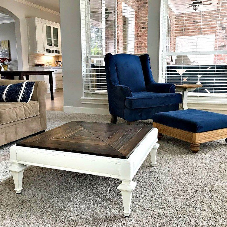 A look at the coffee table I updated with a new wood top and painted white, in our Living Room. #AbbottsAtHome #CoffeeTable #TableTop