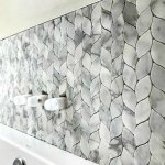Marble mosaic leaf pattern tile backsplash. #AbbottsAtHome #MosaicTile #MarbleTile #BathroomTile