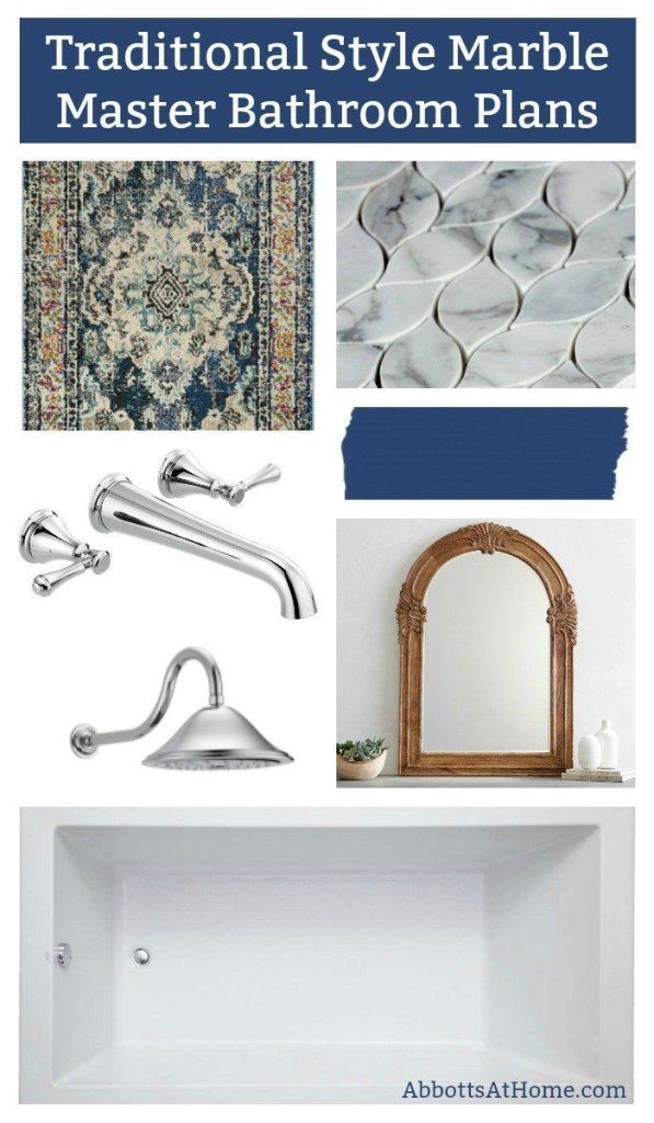 Yay! It's finally happening. I'm giving our Master Bathroom a much needed makeover. Here's the ORC Master Bath Makeover plan full of beautiful marble tile, chrome fixtures, pretty wood decor, and pops of blue. #AbbottsAtHome #BathroomDesign #MarbleTile #MasterBathroom #BathroomIdeas