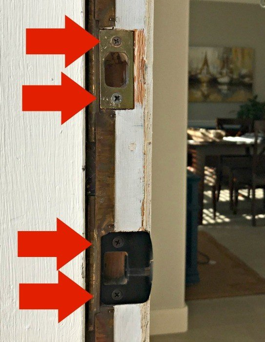 I've got 3 Cheap & Easy DIY Door Security Tips you can do in an afternoon. With 3 small DIY Exterior Door Updates you can make your home safer. And, 1 of them will stop those toddlers and little kids from opening the door to strangers. Yay! #AbbottsAtHome #DIYProject #HomeSafety #Childproof #HomeSecurity #Homemaintenance