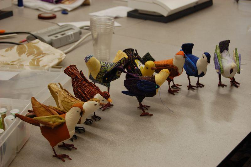 Artful birds sewn