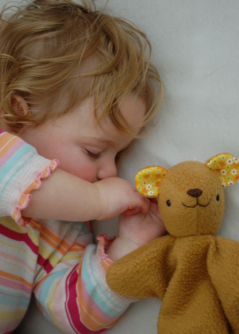 Baby and bear lovey