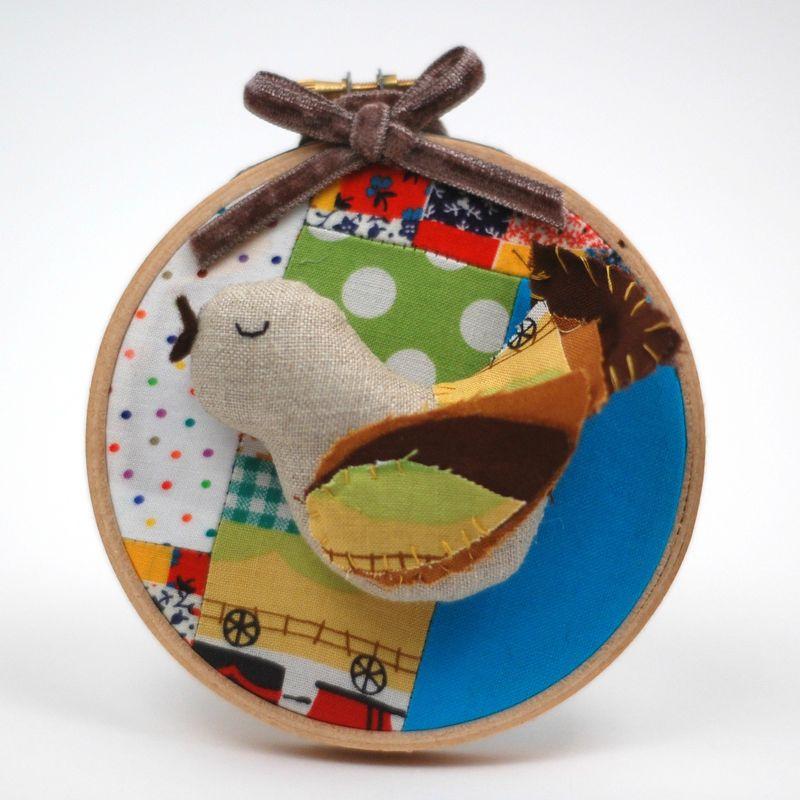 Bird in hoop ornament DIY