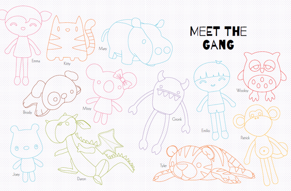 Sew Cute to Cuddle Line Drawings