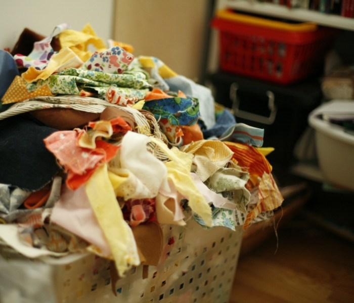 fabric scrap bin