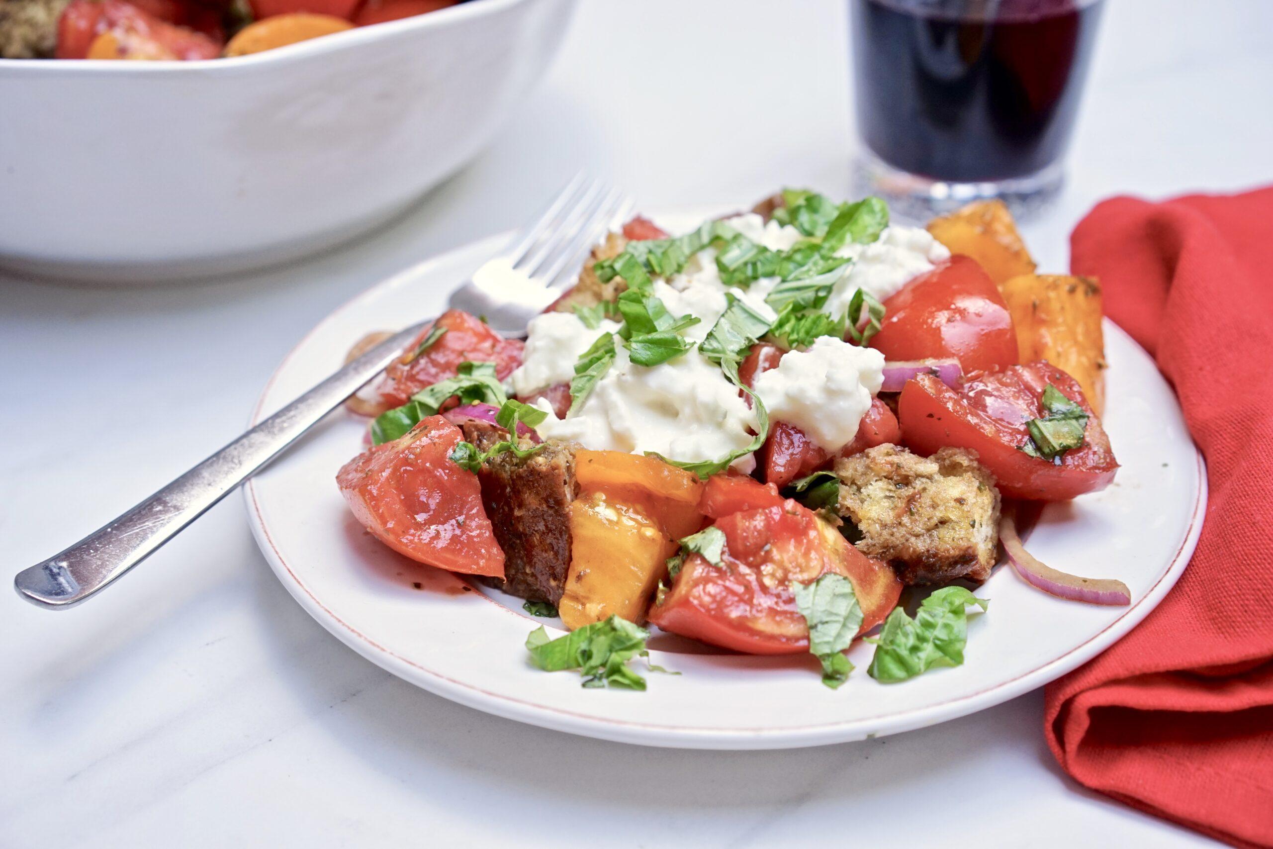 Panzanella Italian Bread Salad With Pesto Vinaigrette