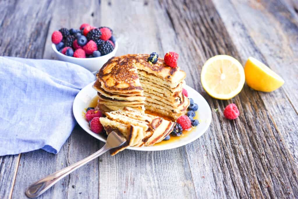 lemon ricotta protein pancake