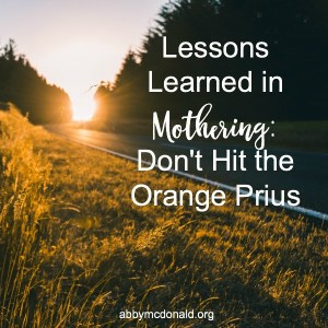 Lessons Learned in Mothering: Don't Hit the Orange Prius