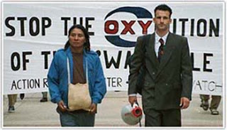 Terence Unity Freitas and Colombian indigenous U'wa leader Berito Cobaria in 1997, protesting LA-based Occidental Petroleum's oil drilling project on U'wa land
