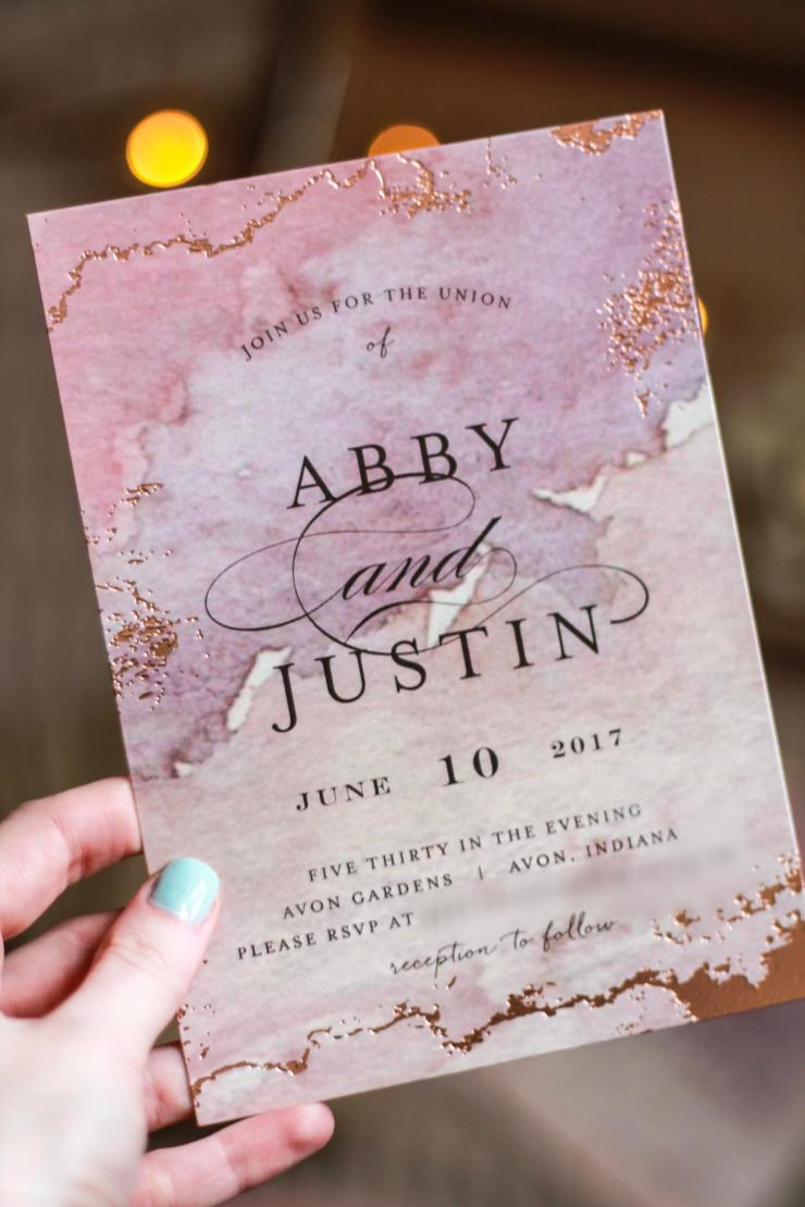boho minted wedding invitation