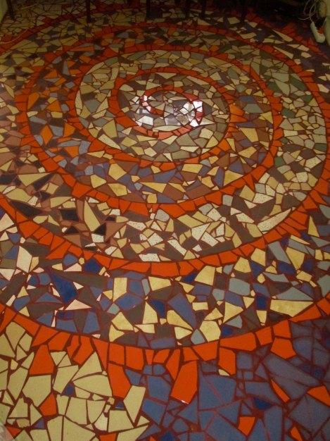 Spiral mozaik on the floor of the livingroom