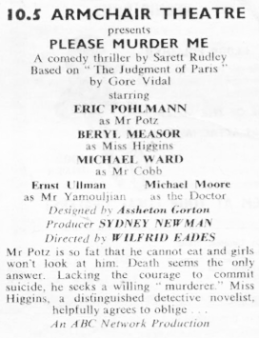 Please Murder Me, from the TVTimes for the Midlands w/c 16 November 1958