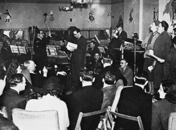 'Shipmates Ashore' with Elsie and Doris Waters, announcer Joseph McLeod and Lord Woolton in the audience.