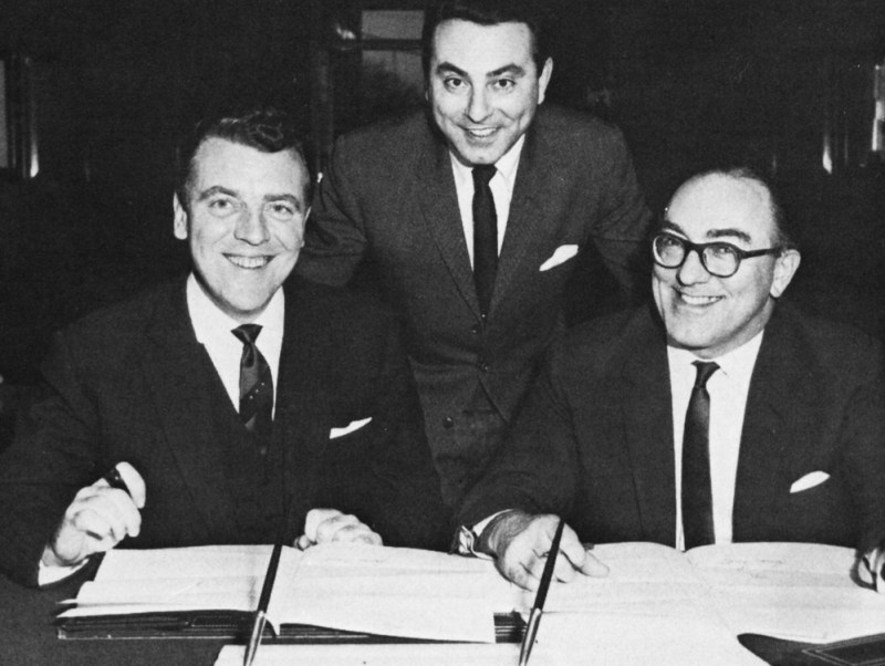 Eamonn Andrews, Brian Tesler and Howard Thomas at the signing of Andrews' ABC contract