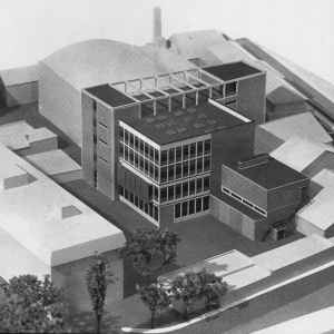 Architect's impression of the brick-built new ABC Technical Block in the middle of the former Warner Bros/ABPC studio complex at Teddington