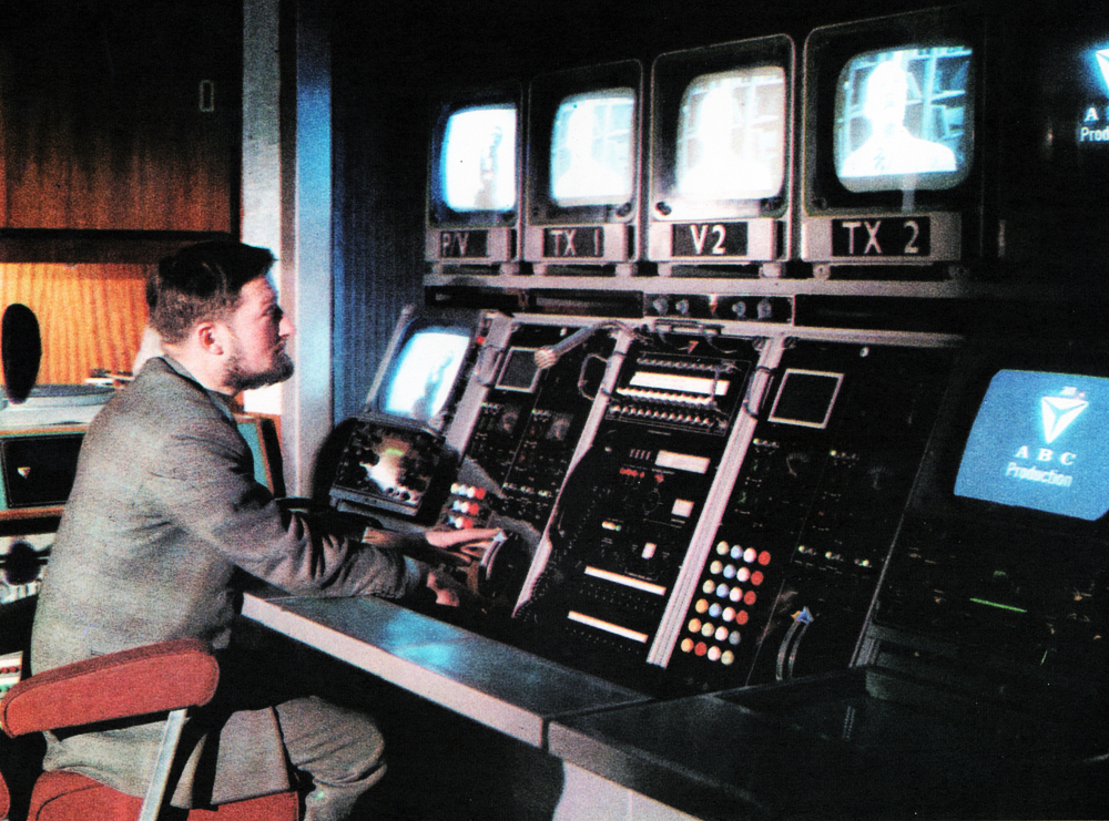 Master Control: The studios' link with the network. Here operators can select and supervise the output to two individual lines and monitor incoming sound and vision circuits.