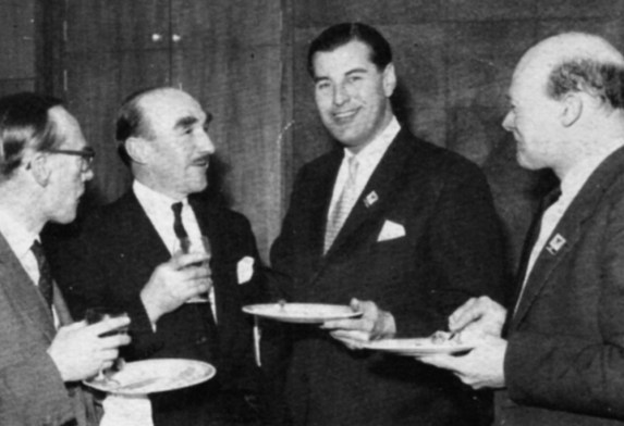 ▲ Good food, good drink and good company. L-R: Mr John Goulden, General Manager and Director of the Sheffield Telegraph & Star Ltd; Ossie Dearden, Assistant Manager, North News Ltd; Northern Executive and Head of OBs DAVID SOUTHWOOD and Didsbury Manager Terry Pace.