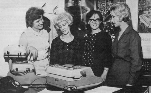 Audio Typing Department, Teddington: DOROTHY COURTNEY, Supervisor, JOYCE TOPPING, CHRIS LEETHAM and MARILYN SCOTT