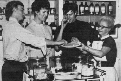 STEVE KILROE, Camera Operator, MARGARET JACKSON, make-up artist, PETER HEMING, Camera Operator, being innoculated against Polio by Nurse WILLIAMS, Didsbury