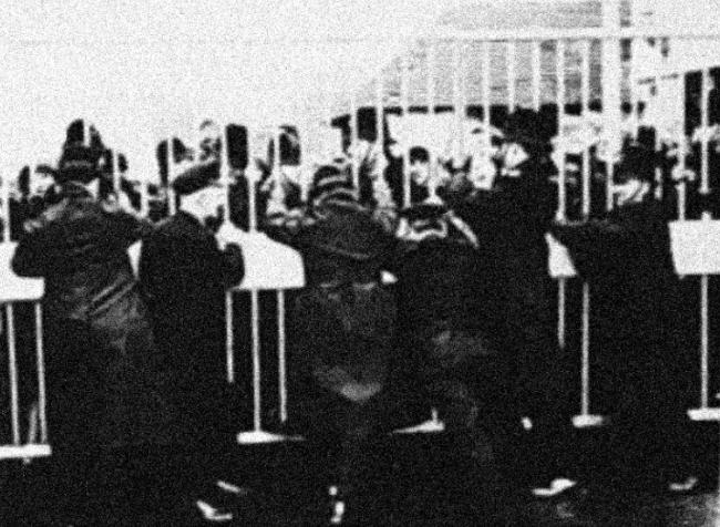 Police hold the studio gates closed
