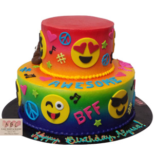 2224 2 Tier Groovy Emoji Birthday Cake Abc Cake Shop Bakery