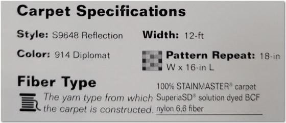 Carpet Specification Label
