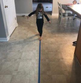 balance beam painters tape indoor activity