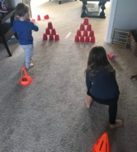 bowling with cups indoor kids activity