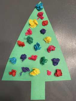 scrunched tissue paper trees kids activity