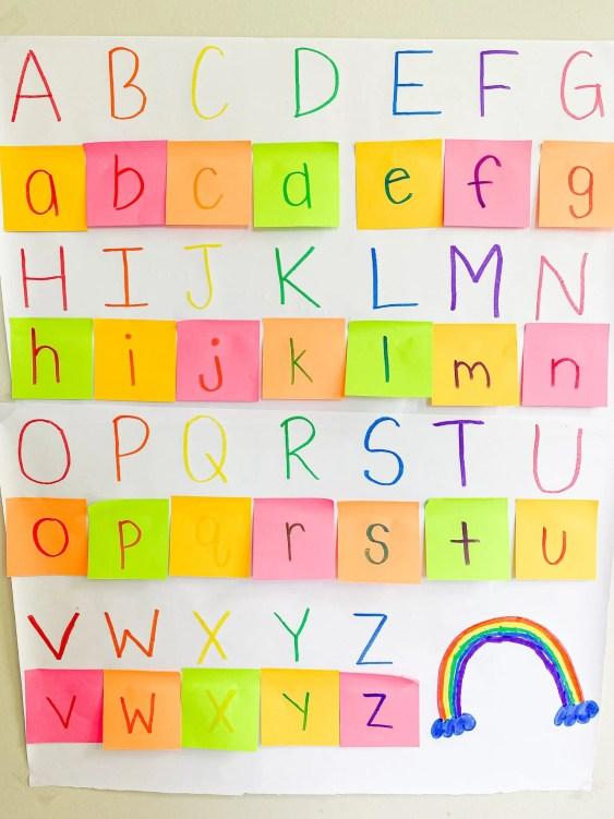 post it alphabet activity