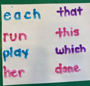 Q-Tip fine motor activity sight words
