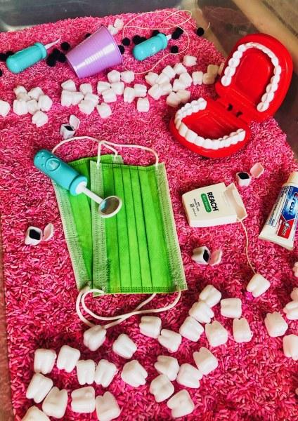 dental hygiene sensory bin