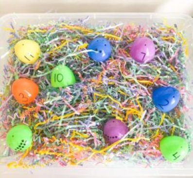 matching number sensory egg bin