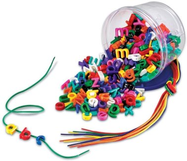 letter a threading toy