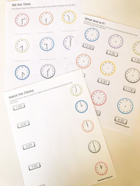 clock learning packet