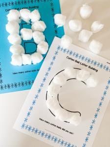 cotton ball letter mats