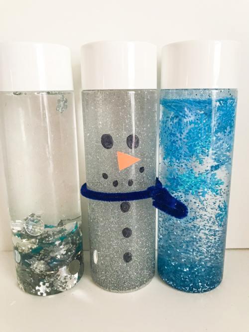 winter sensory bottles