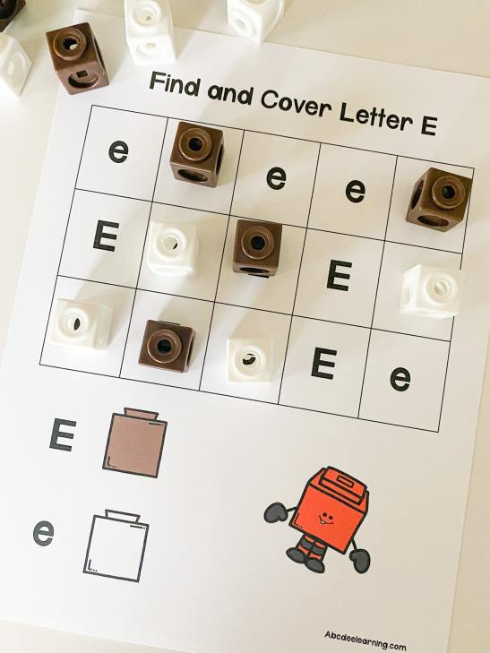 letter E find and cover