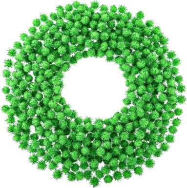 green sparkly poms