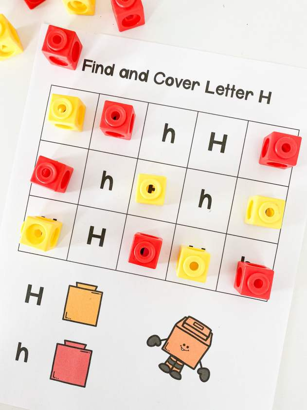 find and cover alphabet sheet
