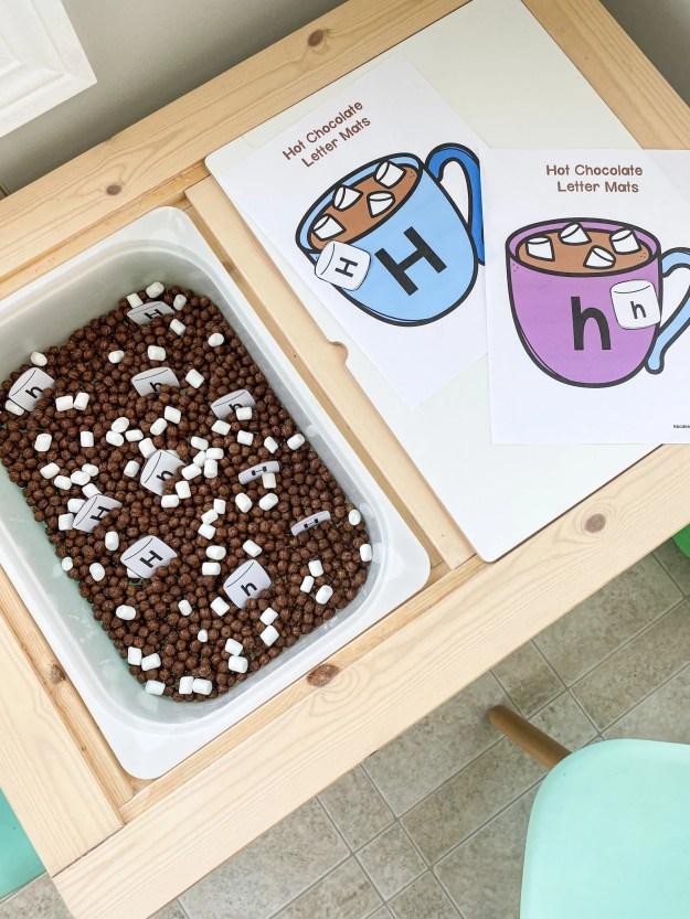 hot chocolate letter H sensory bin