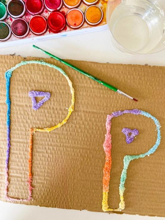 letter P salt painting