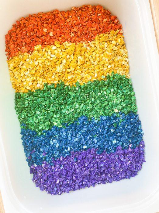 colored oats sensory play