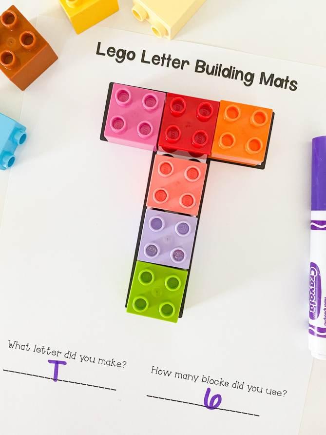 letter t lego building