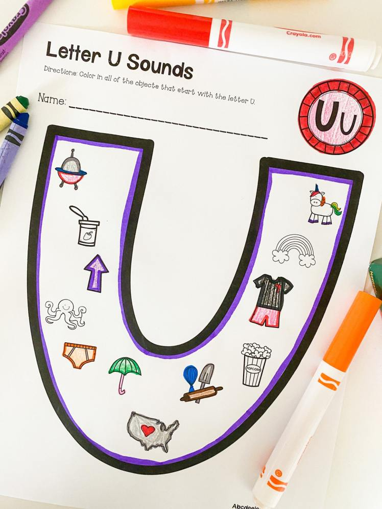 letter u beginning sounds printable