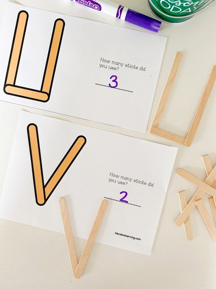 letter u popsicle stick activity