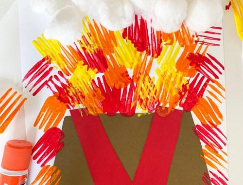letter v volcano craft