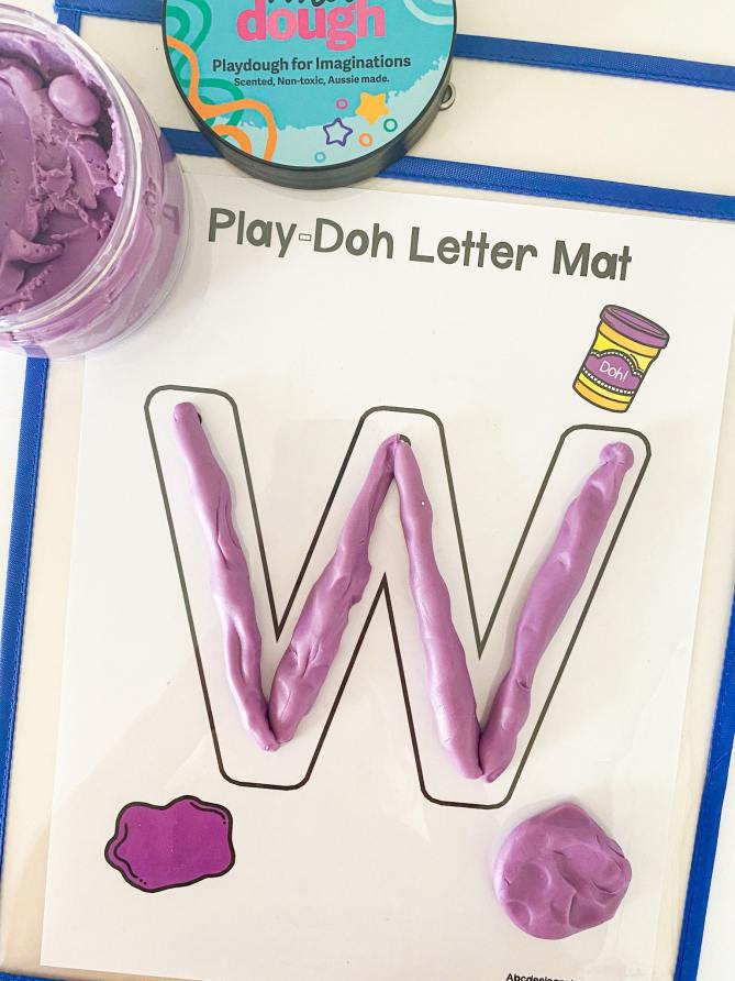 letter w play dough mat