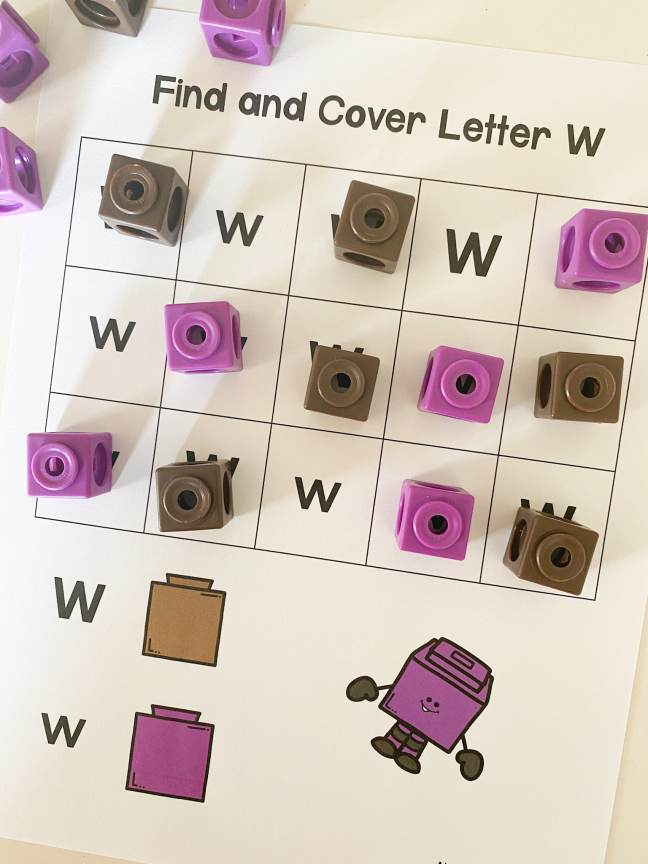 letter w find and cover