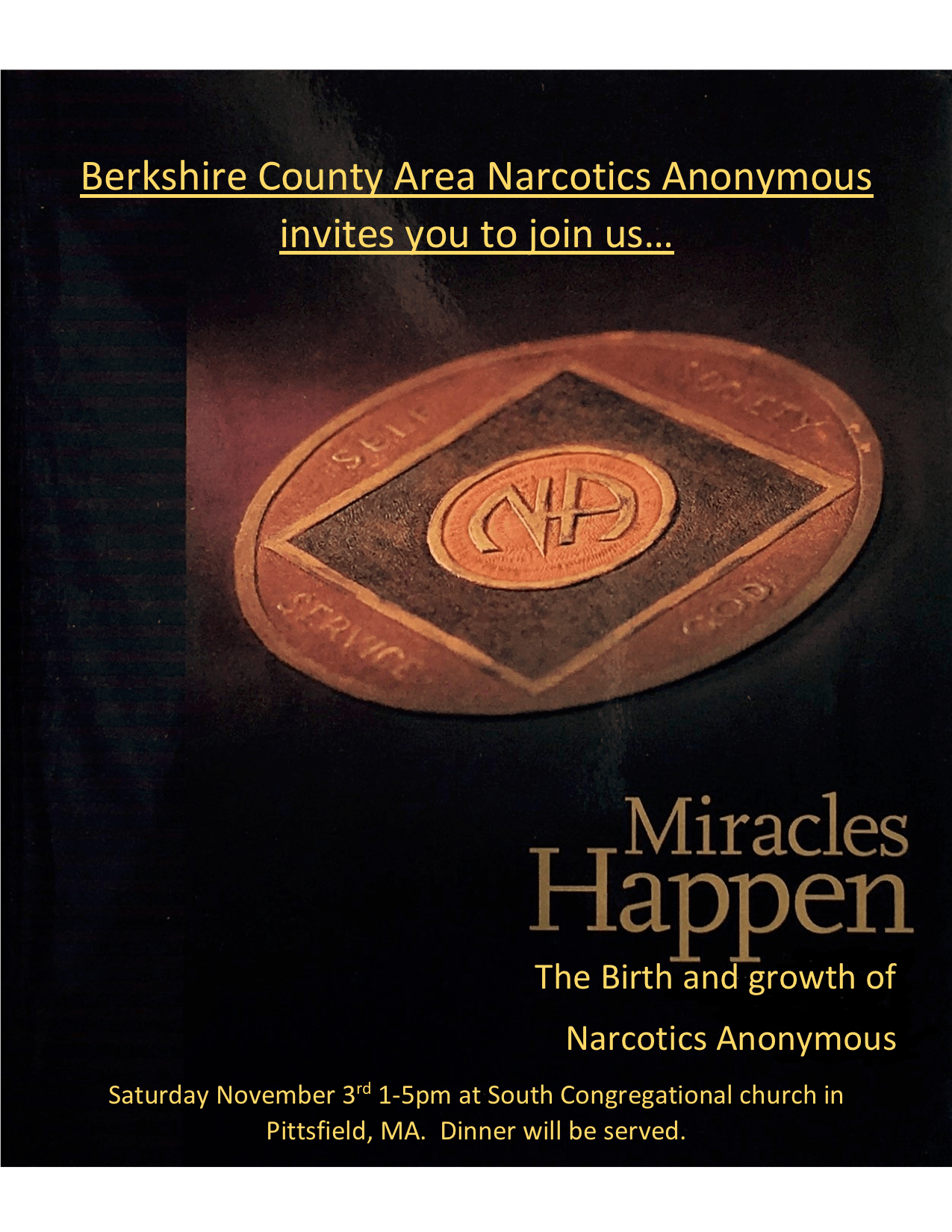 Miracles Happen: The Birth and Growth of Narcotics Anonymous @ South Congregational Church | Pittsfield | Massachusetts | United States
